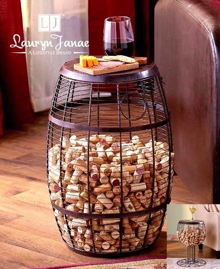 "Lauryn Janae ""Wine Cork Holder (Barrel) Accent Tables"""