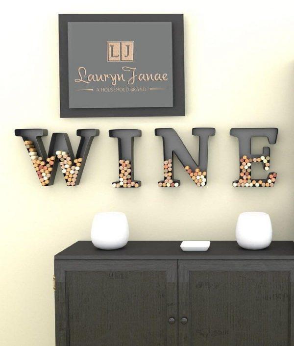 """Lauryn Janae """"Metal Monogram Wine Cork Holders- WINE in Letters"""""""