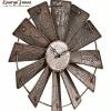 "Lauryn Janae ""Rustic Vintage Antique Metal Windmill Wall Clock"""